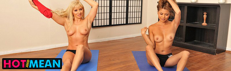 Lea Lexis and Charmane Star demonstrate their exciting yoga positions. Click Here to watch the full scene at Hot And Mean now!