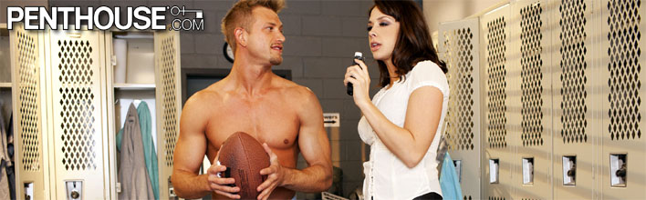 Chanel Preston fucks the famous quarterback after interviewing him. Click Here to watch the full scene at Penthouse now!