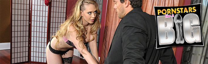 Kagney Linn Karter seduces one of her husband's employees. Click Here to watch more smoking hot babes riding thick cock!