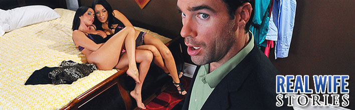 Ariella Ferrera shares her husband's cock with call girl Breanna Sparks. Click Here to watch more real wives fulfilling their hardcore fantasies!