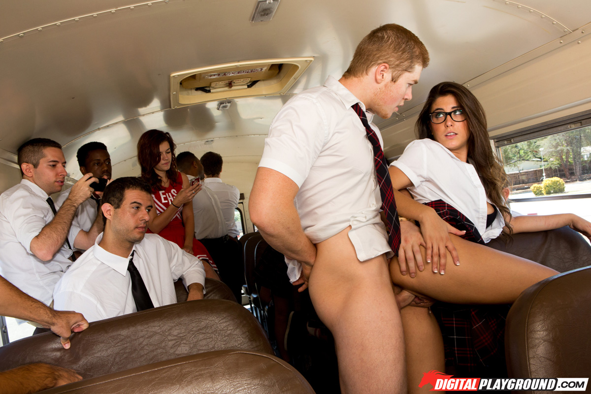Teen Masturbates School Bus