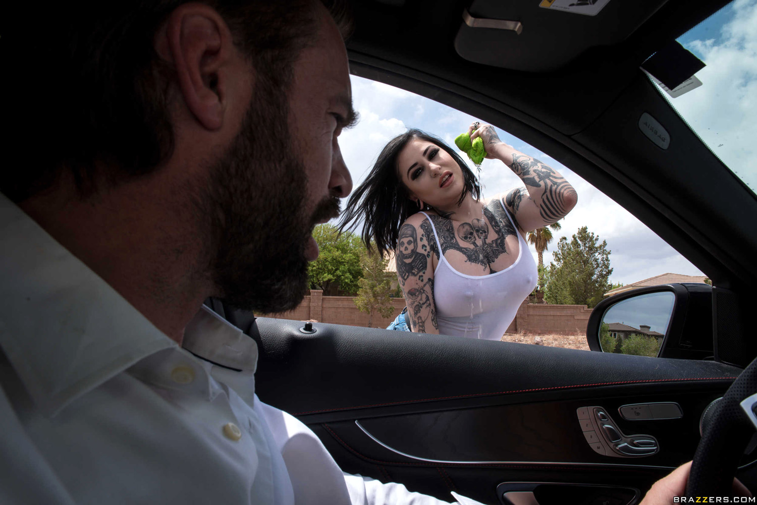 Ophelia Rain carwash babe cleans her client's windshield and his cock too