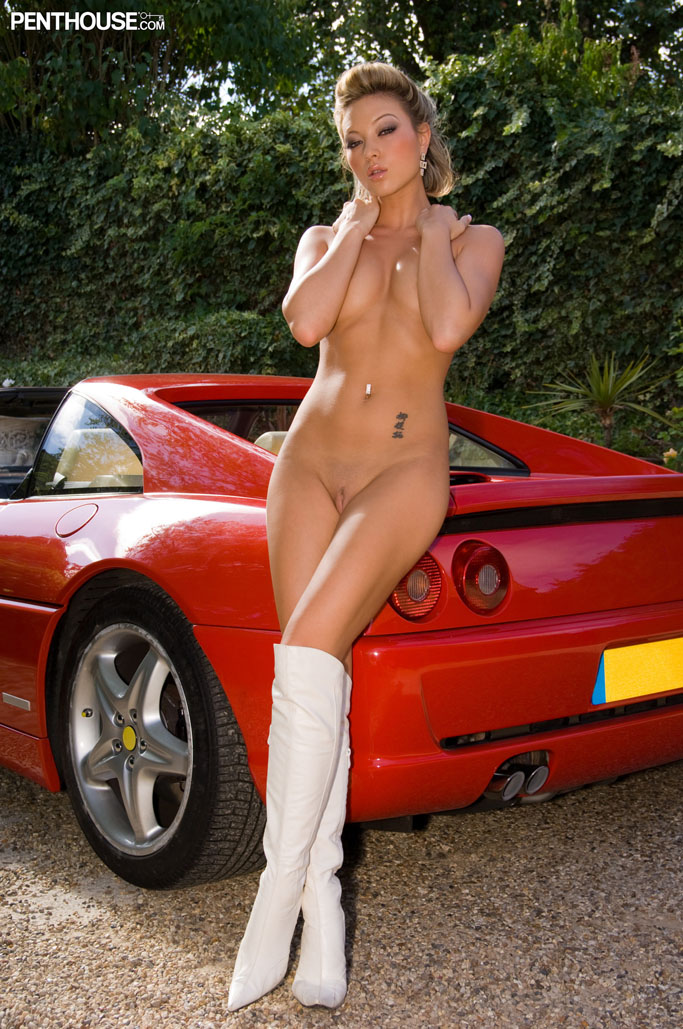 Natalia Forrest Strips Naked Outdoors By The Red Sports Car