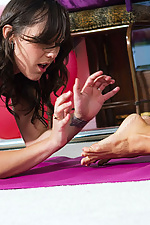 Sammie Rhodes and Sinn Sage interrupt yoga for kinky foot sex from Penthouse