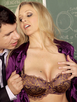 Julia Ann gets fucked in the classroom by a student's father