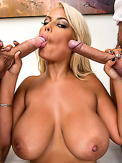 Bridgette B gets double penetrated by two hung studs