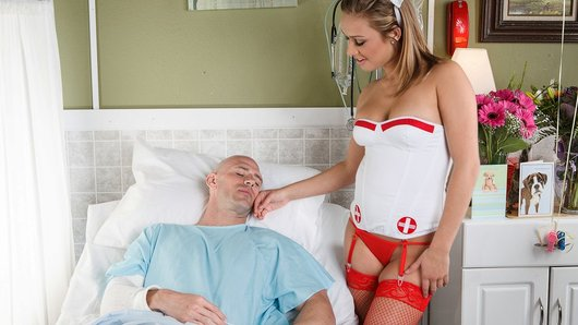 Kennedy Leigh is a diehard fan of football star Johnny Sins. When she finds out he's injured himself, she concocts a plan to get herself into his hospital room to confess her love for him! Johnny may see right through her nurse disguise, but he's not about to pass us some free teen sex!