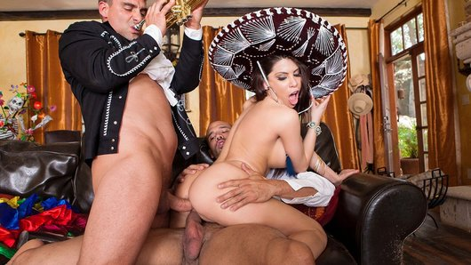 It's Cinco de Mayo, and to celebrate, famed Mariachi players are going to serenade Aleksa Nicole non stop with their sweet Latin music. It may take time, but these men are determined to put Aleksa in the mood for passion, and it isn't long before they're having a full on fuck fiesta!