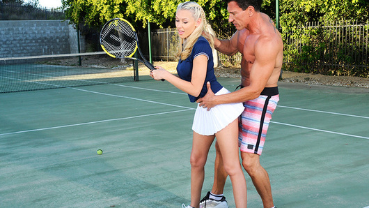 Katie Summers is taking tennis lessons from her Spanish instructor, and she's been trying to get his attention the whole time. Her hard and horny nipples are practically poking him in the eye since she's not wearing a bra, but he's going on and on about forehand, backhand and how the game is played in Spain. Katie finally gets him to shut up and kiss her, then she makes him scream by sucking on his big dick and fucking him until he squirts every last drop of cum onto her pretty little American face.