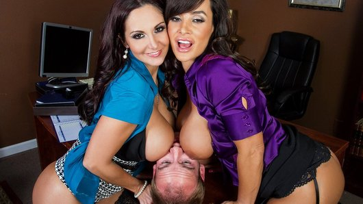 Sonny has just been hired to fix the office security cameras, and he notices the busty Lisa Ann on his monitors right away. He can't resist spying on her luscious body as she walks around the office, and when Ava Addams catches him, the babes decide that the perfect payback is to strip Sonny down and treat him like a piece of meat.