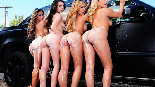 Capri Cavanni, Lexi Belle, Mia Malkova and Rachel Roxxx are all on the school's cheerleading squad, and are having a carwash to raise money for some hot uniforms. They have a prospective customer in their friend's brother Danny, who has truck that could need a good scrubbing. The girls do a good job, but when it's time to pay, Danny tells him that he doesn't have any cash on him. The girls aren't leaving with some sort of payment, so instead of money, they take Danny's big dick -- in all of their mouths and pussies! The cheerleaders fuck Danny and each other, getting dirty enough for another wash!