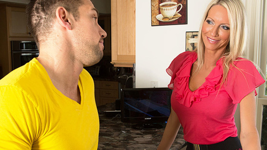 Emma Starr is recently divorced from her movie producer husband and is a cougar on the prowl. When the deliveryman, Johnny, drops off groceries at Emma's, he confesses that his true calling is to be an actor. Emma decides to help the young stud out by offering him a meeting with her producer ex-husband, but first she has to make sure that Johnny is worthy. She orders Johnny to take off his shirt and tells him in order to make it in show biz, he's going to have to play by the game, and the game Emma is playing is called hide this stud's cock inside my vagina. Johnny is happy to play ball if it means he can get a break in show biz.