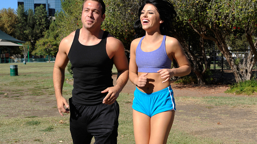 Adriana Chechik is out running four miles with her trainer Chad. At the three mile mark, Adriana complains that she can't go on anymore. Chad looks around for a fountain and miraculously there is not a water fountain at that park. Although, Chad's house is just a quarter mile away. He convinces her to finish the run to his house to get some water and shower. Surely, this cardio session doesn't end when they get to the house.