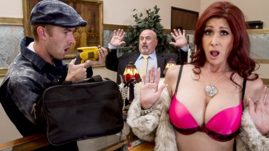 You can't expect a little thing like a robbery to get in the way of Tiffany Mynx' fun. She's at the store trying to get her thrills in the old-fashioned way, charging all kinds of jewelry and diamonds to her husband's account. But seeing that dashing thief Danny smash things up, really brings out the bad girl in her, especially when he offers to give her a pearl necklace. Check him out rubbing those pearls on her clit, then throwing his fat cock in her juicy milf asshole.