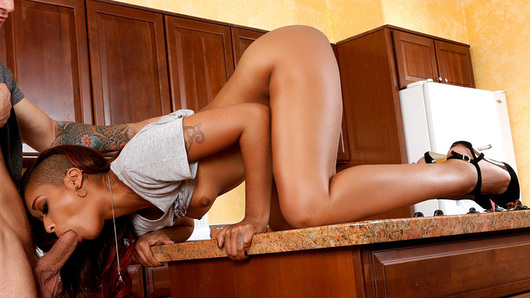 The sexy Skin Diamond is at her boyfriend's house washing his dishes, when Pete, his best friend, comes into the kitchen baffled that she's doing such a thing. She just thought she was doing a nice thing for a her boyfriend because he's so busy and doesn't have the time to wash his dishes, do his laundry, or fold his own clothes! Pete thinks her boyfriend is taking advantage of her generosity and thinks she needs someone that can elevate her in life. His idea of elevation is right over his dick as she bounces that big ass up and down his pole, until she drops to her knees ready to take it all over face.