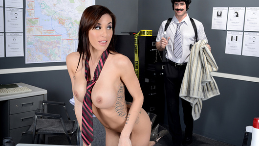 Keeping the mean streets clean is a hard job, but fortunately there are tough cops like Gia DiMarco and Johnny Sins keeping the world a safe place. All of that crime fighting has left Gia pretty stressed and sore, but luckily for her, her partner Johnny has a lot of experience giving sexy ladies rubdowns. It starts off with a simple back and foot rub, but one thing leads to another, and pretty soon he's fingering her pretty pink pussy and juicy round ass! Before long it's not just the oil that's making Gia wet, so she whips out Johnny's fat cock to get the kind of tension release she's really looking for!