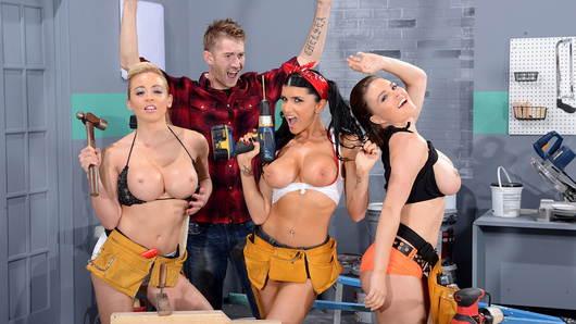 When Danny D falls off a ladder in the shop, he hits his head and starts to have the most wonderful dream: three of the hottest busty babes, Krissy Lynn, Mia Lelani and Romi Rain, teasing him with skimpy outfits and power tools. Not one to waste an opportunity, Danny whips out his fat cock so they can get to work giving him some real satisfaction! He fucks those buxom beauties one at a time while the other two eat each other out, and once he's fucked all of their mouths, faces, and big tits, he gives those dream babes the facial of a lifetime!