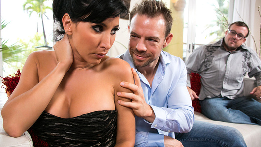 Lezley Zen's husband has always wanted to see her with another man, but she's always been way too shy to try it out. He finally managed to convince her to fuck his friend Erik and let him watch, but she's still nervous about the whole thing. Once Erik starts eating out her pussy, though, she gets into it real quick! She sucks on Erik's fat cock to get it nice and rock hard, and then she spreads her legs so she can fuck that big dick right. The more she fucks, the more she cums, and the more she starts to love swinging! Her big tits bounce around beautifully as she rides that dick, and finally as she takes a huge load all over her pretty face. Who says marriage means a boring sex life?