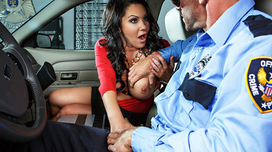 Busty MILF schoolteacher Dayton Rains insisted she was innocent as she was getting arrested for stealing a watch, but the officer cuffing her was having none of it. It was only when Dayton recognized the officer as her former pupil Johnny Sins, that he started having a little sympathy for the buxom beauty. Johnny had always had a crush on Ms. Rains, so he pulled out his big cock to offer her a little community service and save herself some trouble. One look at officer Sins' baton and Dayton was dripping wet and ready for action, wrapping that fat dick in her supple lips and big soft tits until it was hard as a rock. Johnny fucked her hard and blew a huge load all over her face, proving once and for all that fantasies do come true!