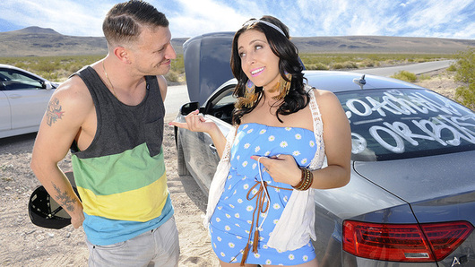 Gracie Glam was driving up to Coachella when she runs out of gas and gets stranded in the middle of the desert. Luckily, her friend's brother was on the way up as well, and stops to give her a hand. Gracie is very thankful, so to thank him, she fucks him in the middle of nowhere.