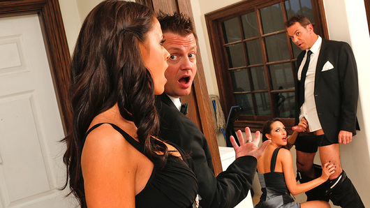 Kortney Kane is chit chatting with the bride's dad, when he reveals that someone's foot was on his crotch during dinner. Well, he finds out that it was Kortney's foot. They decide to take their game of footsie to the next level by sneaking away from the wedding party and finding an empty room to fuck in.