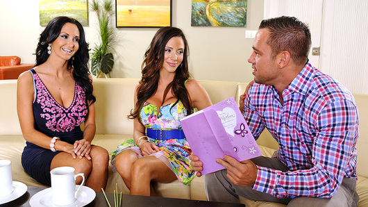 Johnny stops by Ariella Ferrera's house to drop off some flowers in celebration for Mother's Day. Ariella is Johnny's friend's mom, but he considers her a second mother. Ariella's friend, Ava Addams is also over. She thinks Johnny is kind of cute and wants to know if he brought her friend Ariella anything else... like his cock. Ava convinces Ariella to join her in a hot threeway with Johnny.