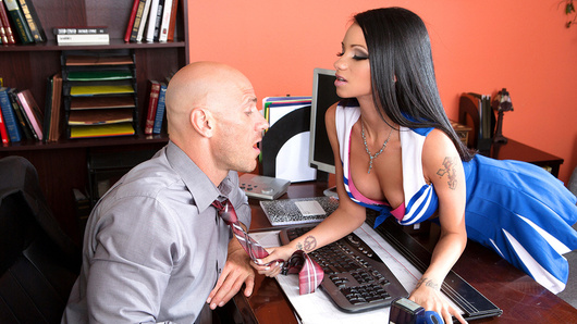 Raven Bay is one of the prettiest and most popular girls in school, but for this busty cheerleader, that's not enough. Raven won't be satisfied until she's named prom queen, so she sneaks into Principal Johnny Sins' office to rig the votes! She almost gets away with it, but Mr. Sins comes in and catches her red-handed. The sexy slut thinks quick, whipping out her big tits and making Mr. Sins an offer he'd never refuse. She strokes and sucks his fat cock, giving him some sloppy head and playing with her pretty pink clit while he fucks her face. She takes Principal Sins' dick deep in her pussy in every position, finally earning the right to call herself prom queen by taking a big facial all over her smiling face!