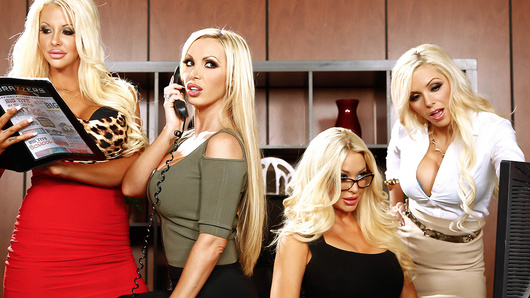 When Courtney Taylor, Nikki Benz, Nina Elle, and Summer Brielle come complaining to boss-man Keiran Lee about his asshole friend Buttler, it's got him in something of a tight spot. Buttler is always sexually harassing the busty blondes, and they've finally had enough. They offer Keiran an ultimatum... either he goes, or they do. Keiran considers his options, fantasizing about the buxom beauties giving him a slow and sexy striptease before tasting their tight wet pussies one by one. They take turns sucking and fucking Keiran's fat cock, licking and fingering each other's tight pussies while Keiran fucks them hard. Finally, he unloads a massive facial all over all of their beautiful smiling faces, and breaks from his reverie. But the decision remains... friendship or big tits?