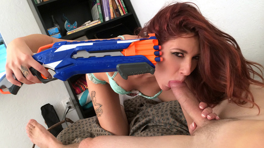 Oh baby! It's been a while since we saw an amateur girlfriend porn movie this hot! Ashlyn Molloy just wanted to have fun, so she picked up a toy cannon and started teasing her man. She begged him to fuck her while she was so horny and wet, and let him film it all.
