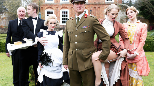This week on Downton Grabby, horny maid Loulou catches that busty MILF Rebecca Moore getting her big tits sucked on by the butler Danny D. Too curious to look away, Loulou gets caught being a voyeur, and Ms. Moore calls her in to get in on the action. Danny has the best day in his butling career as he gets to have a threesome with both those busty blonde beauties. Loulou takes his huge cock deep in her tight pussy while she eats out Rebecca, and then the slutty babes switch places so everyone gets a piece of Danny's dick. Danny even fucks Rebecca's ass, giving her an anal pounding as she eats out Loulou's tight wet pussy. Finally there's a big facial for the ladies to share, and then it's back to the intrigue at Downton Grabby!