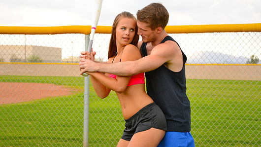 Jillian Janson is practicing her batting with Brick. Brick gives her a ride home and to thank him she rides him.