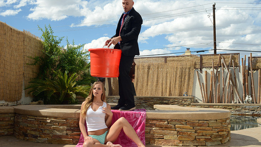 Naughty rich girl Jillian Janson was called out to participate in the ice bucket challenge, but she would rather be the cum bucket for her butler.