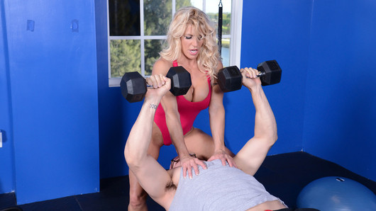 Gina West's gym was losing money, and she was fed up with Jmac, one of the other trainers, slacking on the job. He hadn't been keeping up with clients and Gina's fit sexy physique and big tits couldn't do all the work. Gina figured she might as well get something out of hiring him, so she forced him to work out, and then when the time was right, she'd sit on his face! Jmac didn't object, especially since Gina started to blow him at the same time. These two got into some heavy fucking for an extreme workout session. Jmac got his cardio and weight training at once, as he worked out Gina's body in many positions, including the Ballet Dancer and a standing cradle position.