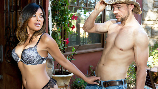 When Kaylani Lei's husband accused her of fucking the gardener, it pissed her off so much that she decided to teach that jealous asshole a lesson! She found her gardener Erik in the front yard, and stripped down to nothing but some lace lingerie, enticing him up to the shower with her juicy ass. She tore his pants off to gave him a blowjob and he returned the favor, eating her tight Asian pussy until she was dripping wet. Kaylani rode Erik's fat cock and then jerked a big cumshot all over her pretty face! That'll show her husband not to be a jealous prick!