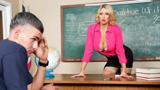 Is it all in Clover's head, or is his teacher Ms. Leigh Darby trying to seduce him? Poor guy didn't have a chance in hell of focusing on the pop quiz with a hot blonde unbuttoning her blouse and flashing her cleavage right in front of his face. When she found him sneaking round after hours, Ms. Darby offered him a squeeze of her big juicy tits, to see if a good stiff fuck would solve the distraction once and for all. Check out how Clover bought himself a second chance at success by motorboating her big titties and pounding the fuck outta that British tart's tight pussy!
