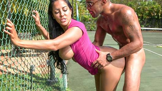 Kiara Mia is all up in the tennis court today. She is slinging that big booty, and letting her tits bounce around like it's all good... cause you know what? It is all good! Nothing better than a nice rack and a big bubble butt! Watch her suck on hard black dick and get pounded raw on the tennis court. This nympho knows how to get filthy with the dong and please a man. Hardcore pussy slamming action that ends with her pretty face drenched in cum. Hell yeah!