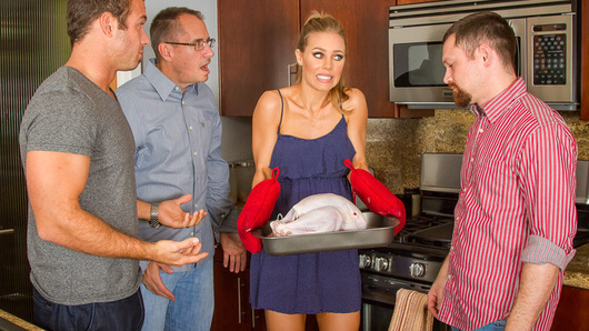 Nicole Aniston is cooking a Thanksgiving dinner for her boyfriend and his two sons, the only problem is, Nicole can't boil noodles properly. After the three of them look over the mash potatoes and the can of cranberry she left out on the table, Nicole asks for some help in the kitchen with the turkey. It appears that she never turned the oven on because she thought the microwave and oven were connected! Upset, she runs upstairs to the bedroom, Chad goes up to do a little more than console her.