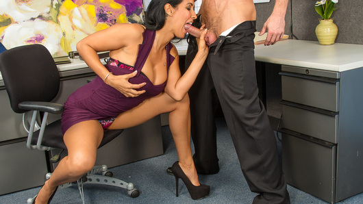 Isis Love is having troubles at work and she's not going to get her bonus because of it. Her co-worker, Ryan, offers to brighten her day by letting her ride his big dick.