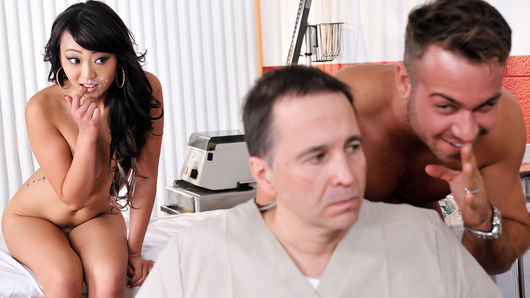 Dr. Chad White is positive that his latest patient is faking, and he's determined to expose him as a liar by any means necessary. When the big faker's daughter Miko Dai comes in for a visit, Dr. White gets a devious idea and seduces the sexy Asian slut! First he strips her down, exposing her slim all-natural body. Soon, Miko is horny as hell, giving the good doctor a blowjob, sixtynining him, sucking on his balls, and finally taking his fat cock deep inside her tight Asian pussy!