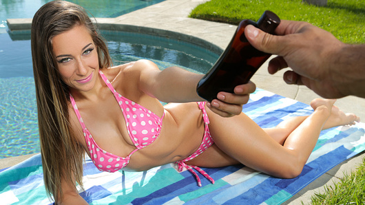 Sunbathing in the backyard, my blonde beauty Cassidy Klein is laying out in front of the pool. I can't help but film her, and especially since she all oiled up! Watch me bang my girlfriend for all the neighbors to see, including you!