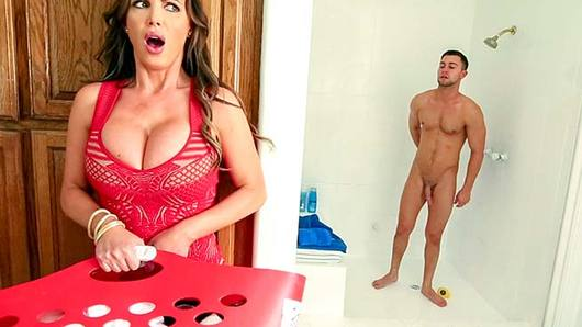 After getting home from the gym, Abella Danger and Seth need to take a shower before heading to class. Unfortunately, Abella's dad is a cock block and doesn't let other guys into the house, much less use the shower. Good thing her stepmom, Nikki Benz, is home. Horny Nikki peeps on Seth showering and can't help herself. She undresses and blows him, only to get caught by Abella. Nikki doesn't have to do much convincing for Abella to join in. What we have now is one hell of a fuck fest!