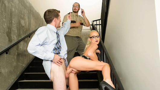 Madison Scott has problems paying attention at her work, because she just can't keep her eyes off her hunky co-worker Brick Danger. When the clock approached 3pm, Brick snuck off, and Madison waited feverishly for her chance to meet Brick in the stairs for their afternoon quickie. Waiting even five minutes made her so pussy ache with desire to bone, and the chance of getting caught made her even hornier. When she finally locked lips with Brick, and felt his hands on her ripe big boobs, Madison was in heaven. Watch how she sucked him off, and how Brick gave her a one-way ticket to pound-town in the office stairwell like the dirty office slut she is!