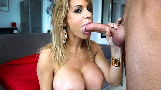 Horny busty milf Alyssa Lynn comes by eager for dick. She shows off her great big tits before she gets caught masturbating. She goes wild on the stud's cock as she sucks him off and gets fucked. The guy fucks her with his raw cock on multiple positions until she takes a cream pie.