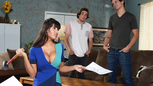 When Tyler and his buddy needed some quick cash, they started brainstorming ways to rummage up the cash they needed to put things in action. But the key part of the plan involved Tyler helping Mercedes Carrera put together some furniture as a distraction. But how could you expect Tyler to keep his eyes on the plans with Mercedes' tits popping out of her dress? It didn't take long for his buddy's mom to notice, and start working her best seduction game. When Mercedes couldn't wait another second, she whipped out her massive melons and let Tyler pop them in his mouth. After motorboating her tits and licking her nipples, Tyler went down on Mercedes, warming up her snatch for the hard fuck that followed!