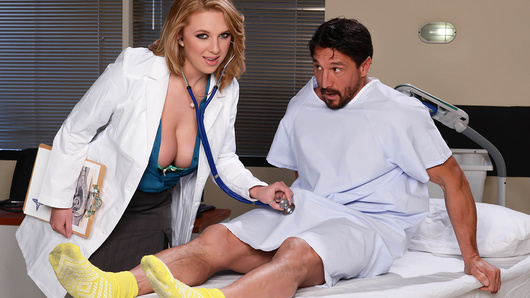 Dr. Brooke Wylde loves her job. Helping the sick and the needy is its own reward, as far as she's concerned, but when a grumpy patient named Mr. Gunn gets a huge stiffy in the middle of an examination, she decides to help herself to some workplace benefits! Tommy rubs her little clit until she's dripping wet, and then strokes his big dick until he's hard as a rock. Brooke sucks his dick and then unveils her magnificent big natural tits to fuck that cock with her titties and her pussy! It's all in a day's work for a natural caretaker like Dr. Wylde.