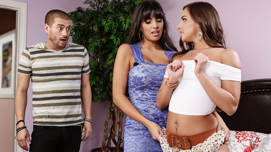 A nice family dinner explodes into chaos when Amirah Adara's dad catches her giving her boyfriend a handjob under the table. When dad leaves to call Xander's parents, stepmom Mercedes Carerra takes control and defuses the situation with her nimble fingers. Figuring that if they're going to fool around, she'd rather them do it in her home where she can watch, making sure they do it right. This tantalizing teacher shows her sinful stepdaughter how to use that tight twat like a real woman, leading by example as she mounts Xander's enormous dick. Energized by her new naughty knowledge, Amirah takes on her boyfriend's dick with confidence, wrapping that wet pussy around his penis until he cums all over her slutty face.