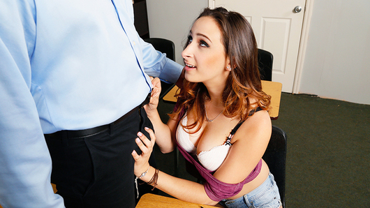 Ashley Adams' grades have been slipping, and her professor notices, so he keeps her after class. She confesses that she's been feeling down because she's not very experienced with sex... She asks her professor to help her, and he gladly obliges.