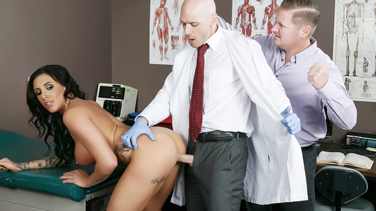 Austin Lynn has an appointment with pervy gyno Dr. Johnny Sins, and her boyfriend doesn't trust that horny bastard for a second. The poor sap does his best to stop Austin from getting too horny, but pretty soon the good doctor decides his presence is too disruptive and kicks him right out of the exam room. Finally free to take that doctor dick as deep as she desires, Austin sucks and fucks Johnny until she's cumming all over his shaft. Johnny fucks her pussy, her face, and ever her beautiful big fake tits, and then unloads a huge pussy creampie right in her tight little twat!