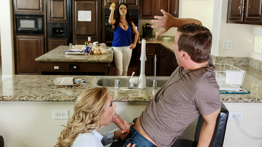 Ariella Ferrera's stepson Jessy is back from college. This is a perfect opportunity for Ariella's cougar best friend Cherie Deville to swoop in sneakily and get some action right under Ariella's nose. It isn't long before Ariella gets wise to their hanky-panky, and at Cherie's insistence, joins in for a three-way fuck!