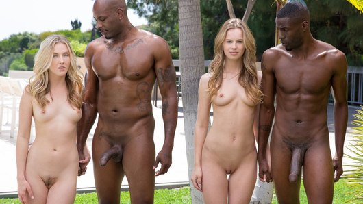 Jillian Janson and Karla Kush are chilling at Jillian's dad's house for the weekend, and Jillian has the perfect agenda for them both... She met a hot black man at a club who has an equally hot housemate! She invites them both over for some unbelievable foursome action! They start off by the pool, teasing both huge black cocks with their hands and mouths. Taking it inside, they both have their tight little pussies banged together as they moan together for more! Jillian gets spit roasted by both of the big black dicks, which makes her cum loudly. After fully servicing their sweet little holes, they both get a hot faceful of creamy cum together! These BFF's will certainly be friends forever!